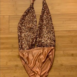 Urban Outfitters sequined halter body suit